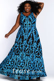 Prom Dress TE2106 by Sydney's Closet A-line with bra friendly shoulder straps and heavy colorful sequin pattern all over the dress above black fabric with a zipper back available in gold and aqua