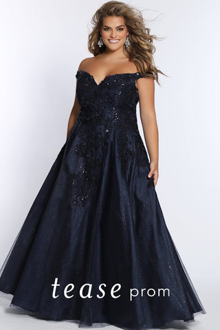 Prom Dress TE2107 by Sydney's Closet A-line with low hanging shoulder straps and sparkly tulle and appliques on bodice a lace up back available in midnight blue