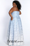 Prom Dress TE2111 by Sydney's Closet A-line with pockets, double spaghetti straps and floral pattern over ombre colored fabric a zipper back available in ombre sky