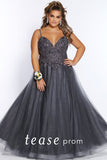 Prom Dress TE2115 by Sydney's Closet A-line spaghetti straps appliques on bodice with soft tulle skirt a zipper back available in slate