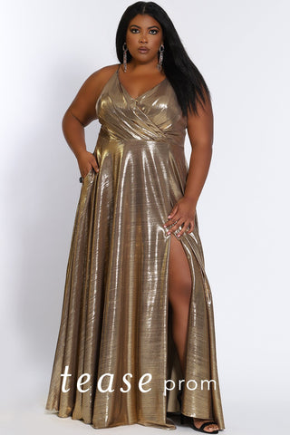 Prom Dress TE2116 by Sydney's Closet A-line v-neck ,pockets, with spaghetti straps shimmery metallic fabric a zipper back with above the knee slit available in gold, royal and teal