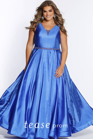 Prom Dress TE2117 by Sydney's Closet A-line v-neck with bra friendly straps lace up back and sparkly belt and pockets available in blue attitude, unmellow yellow, shocking pink and screamin' green