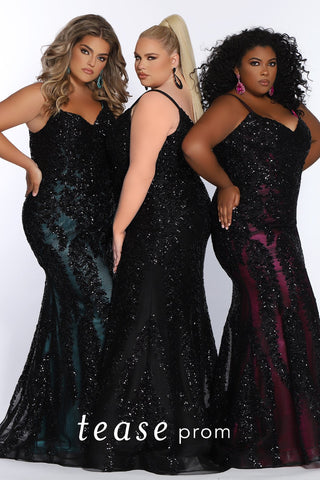 Plus Size Models wearing Prom Dress TE2118 by Sydney's Closet fitted mermaid with spaghetti straps zipper back and black heavy sequin design all over dress above colored underneath fabric available in aqua, black and magenta