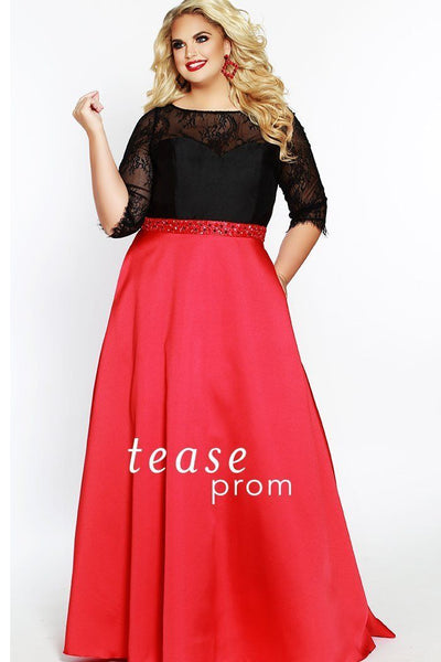 TE1821 in Black and red has 3/4 length lace sleeves, mikado satin floor length skirt. The sweetheart neckline and bodice has tone-on-tone barrel beads with silver sequins