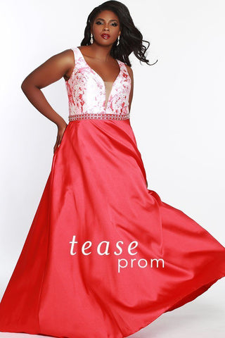 TE1844 in red floral has a Mikado satin and floor-length, A-line skirt with floral print bodice and center-back zipper