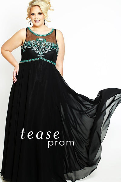 TE1811 is an empire silhouette dress with turquoise beaded bodice and black chiffon flowy skirt