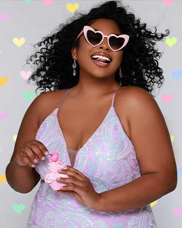 789b85822f5 Plus Size Prom Never Looked So Good.  Prom2018  PlusSizeProm  TeaseProm.  TE1833 in magenta and black is a two piece with a sequined bodice has ...