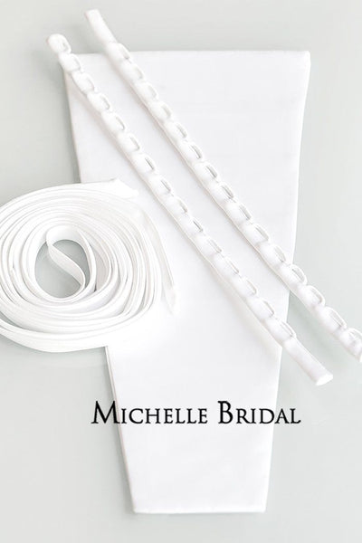 MB1203 can switch plus size weddings gowns from zipper to lace up backs when you use our modesty panel kit. Designed with the width needed to accommodate the full figure and longer laces.