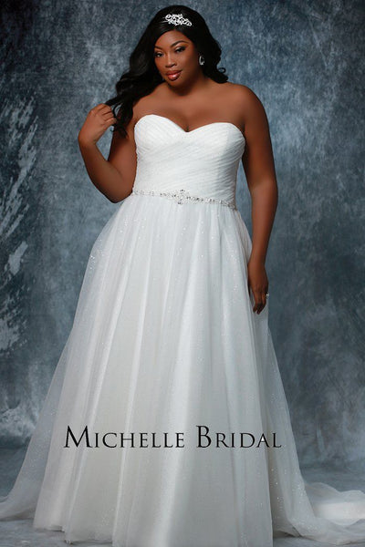 MB1604 has a sweetheart strapless neckline with a beaded belt a full A-line skirt and lace up corset back