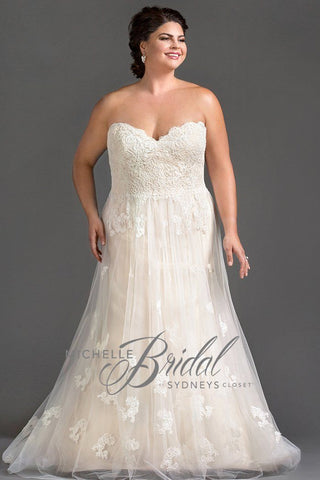 MB1607 has a strapless sweetheart neckline with an A-line silhouette beautiful lace and corset back