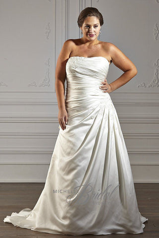 MB1612 has a strapless sweetheart neckline with asymmetric pleating on the skirt