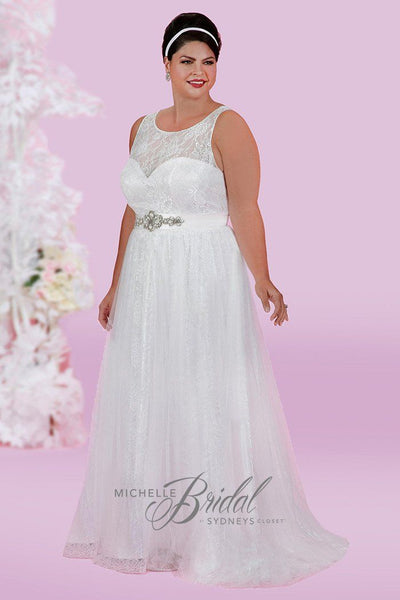 MB1616 has a scoop neckline with illusion bodice and A-line skirt