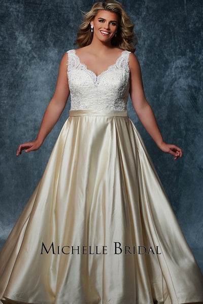 MB1709 has a beaded lace bodice with V-neckline and bra-friendly straps. Satin skirt with pleats and matching satin belt.
