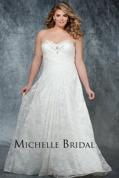 MB1711 plus size all lace wedding dress Michelle Bridal