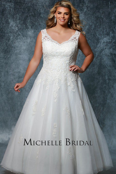 MB1712 top selling bridal ballgown with straps, lace V-bodice and lace-up back in ivory, champagne or pink champagne.