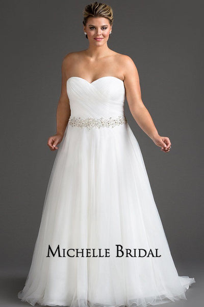 MB1715 plus size tulle ball gown bridal dress with pleated strapless bodice, full tulle skirt, lace-up back and beaded waistline.