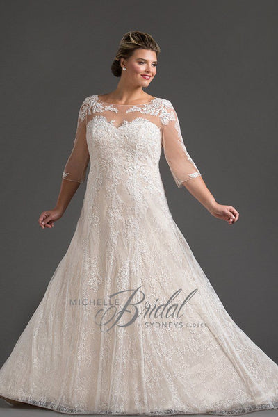 MB1718 long sleeve formal bridal gown in champagne or ivory front view