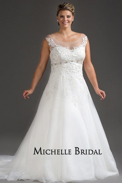 MB1719 empire silhouette plus size wedding gown with lace bodice, beaded empire waistline, full tulle skirt with train.