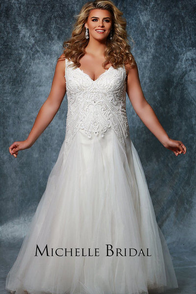 MB1803 has a V-bodice that is heavily beaded, A-line skirt with chapel train and center-back zipper