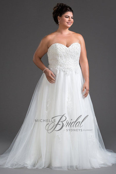 MB1811 has a sweetheart bodice and neckline and has heavy beading. It is strapless, but includes optional straps. The A-line tulle skirt has a chapel train and laces up in the back, including modesty panel