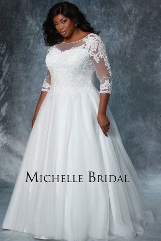 MB1911 plus size bridal gown with lace sleeves, tulle skirt and zipper back; available in white or ivory