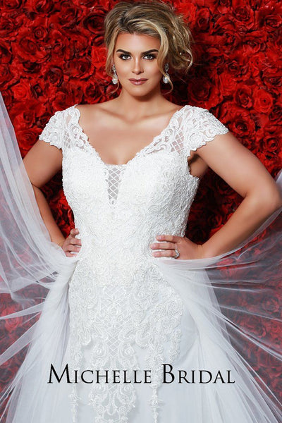 MB1914 modern plus size bridal dress with lace cap sleeves, laceup back with modesty panel, sheath skirt and tulle fly away overlay