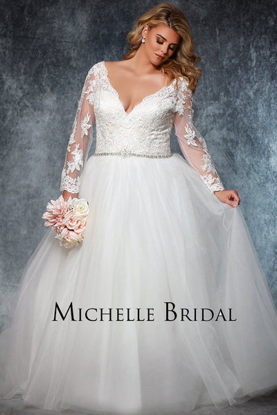 MB1915 plus size wedding gown with long lace sleeves, beaded accent belt and tulle skirt; long cathedral train; laceup back with modesty panel; bride's choice of blush or ivory bodice