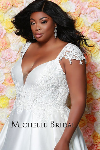 MB1917 plus size sexy satin wedding gown; lace cap sleeves, plunging v-neckline, pleated skirt, pockets and zipper back