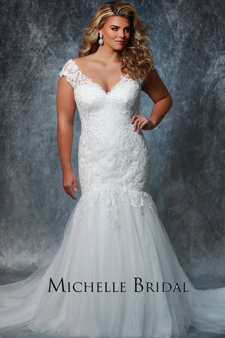 MB1919 stunning plus size fitted mermaid gown with caplet lace straps, fitted bodice and flared tulle skirt with train; laceup back with modesty panel