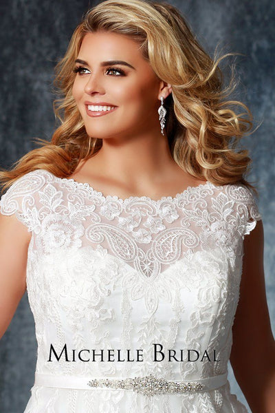 MB1921 stunning embroidered plus size wedding gown with cap sleeves and V-back with accented beaded belt