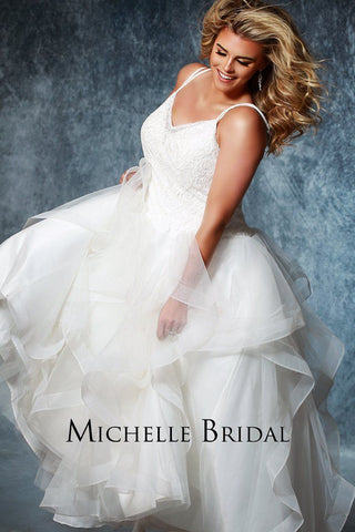 MB1923 tiered bridal ball gown with lace and sequined bodice with supportive double straps' laceup back for an easy fit
