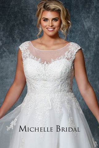 MB1924 ivory or white plus size wedding dress with net illusion bodice, lace straps and full coverage back; lace appliques trickle down the bodice and zipper closure in the back