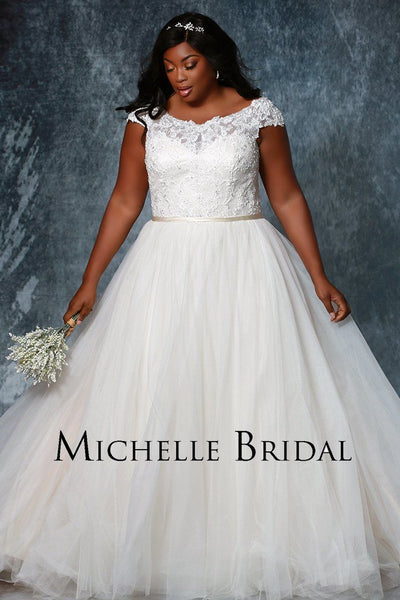 MB1926 plus size wedding gown with straps, lace bodice, lace up back with modesty panel, full tulle skirt, satin belt and large train