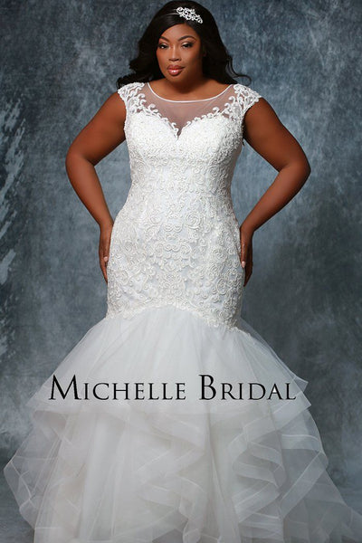 MB1928 sexy trendy fitted mermaid bridal gown for plus size brides' cap sleeves, tiered flared skirt and lace bodice