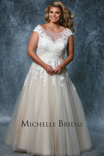 MB1931 champagne or ivory romantic wedding gown for plus size brides to be; laceup back with modesty panel, straps with accented lace and soft tulle skirt
