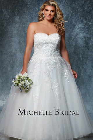 MB1932 strapless lace and beaded ballgown with lace up back and modesty panel; stunning plus size bridal ballgown