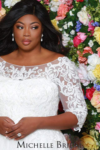 MB1933 stunning plus size wedding gown with lace bodice and lace sleeves, center back zipper and full train