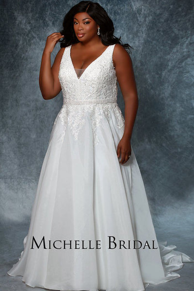 MB1934 ivory plus size bridal gown with v-neckline, bra-friendly straps, detachable beaded belt and satin skirt