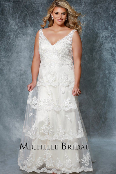 MB1936 ivory or champagne boho style wedding dress for plus size brides with a sheath silhouette lace bodice with lace straps and tiered accented lace on the skirt