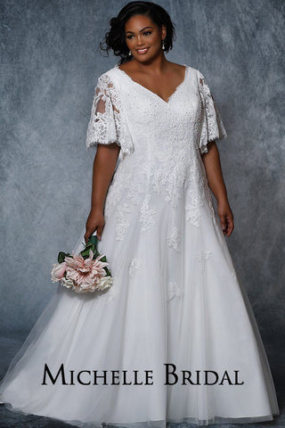 MB2006 plus size bridal dress with an A-line silhouette, V-bodice with lace appliques,