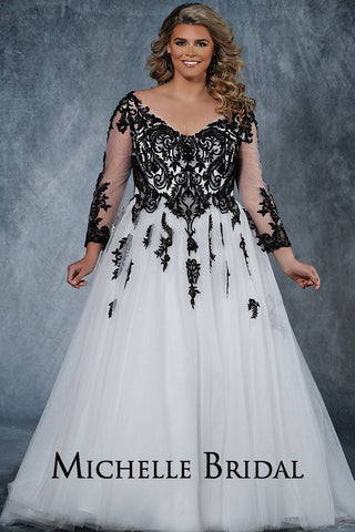 MB2010 plus size bridal gown with deep V-neckline and illusion mesh sleeves are embellished with intricate lace appliques.  Full ball gown tulle skirt and lace-up back with modesty panel.