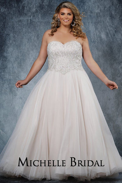 MB2011 strapless bridal gown with heavily beaded bodice, full ball gown tulle skirt and lace-up back with modesty panel.