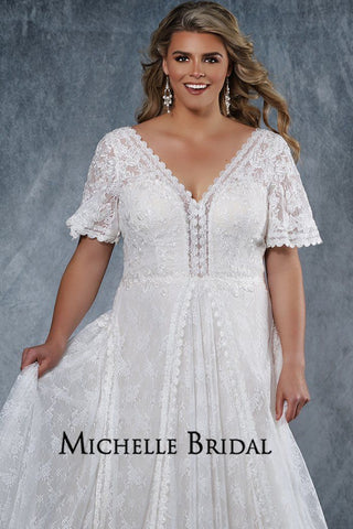 MB2012 plus size lace over satin bridal gown with V-neckline, flutter sleeves and flowy lace A-line skirt with center-back zipper with covered buttons.