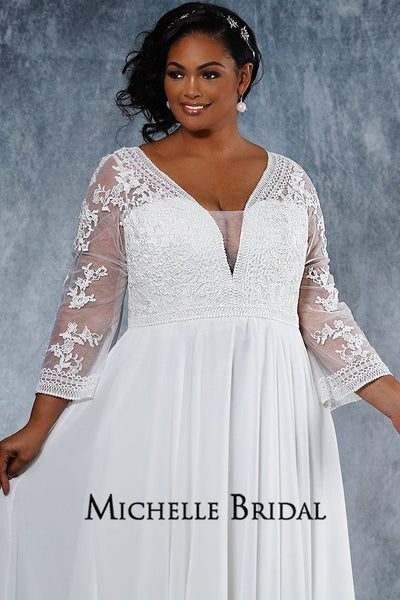MB2020 plus size bridal dress with V-bodice and illusion mesh sleeves decorated with lace appliques, lined chiffon skirt, center-back zipper with covered buttons and chapel train.