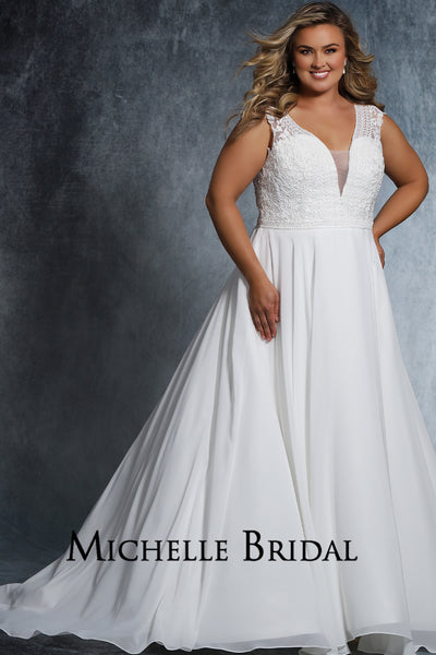 MB2021 lace and chiffon plus size bridal gown with deep V-neckline, small cap sleeve, pleated lined chiffon skirt with chapel train.