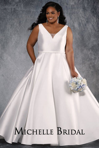 MB2022 Mikado satin plus size wedding dress with V-neckline, bra-friendly straps, full A-line satin skirt with pockets, center-back zipper and chapel train.