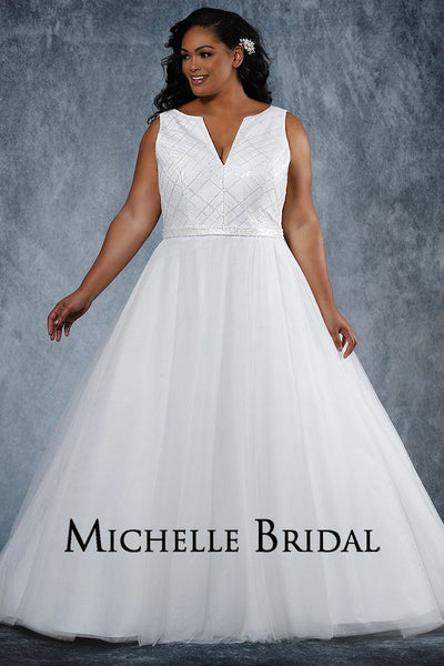 MB2027 plus size sequin and tulle bridal dress with scoop V-neckline, bra-friendly straps, full A-line tulle skirt and lace-up back with modestly panel.