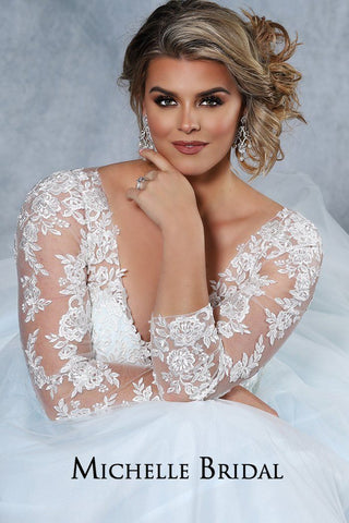 MB2029 plus size bridal dress with ivory lace appliques and light blue tulle.  V-neckline, illusion mesh sleeves, center-back zipper with covered buttons and a chapel train.
