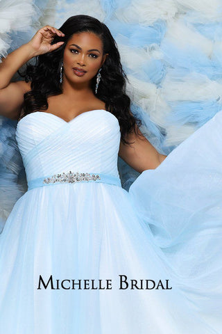 MB2030 pleated strapless plus size bridal dress with sweetheart neckline, tulle ball gown skirt, lace-up back with modesty panel and beaded attached belt.