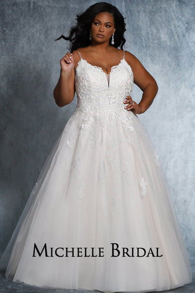 Mariah Bridal Gown MB2105 by Sydney's Closet A-Line ballgown with spaghetti straps and zipper back with buttons available in ivory/ivory, ivory/champagne, ivory/pink chamnpagne